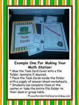 St. Patrick's Day Three Addend Addition Task Cards, Center Games and Printables