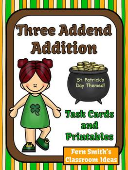 St. Patrick's Day Three Addend Addition Task Cards and Printables