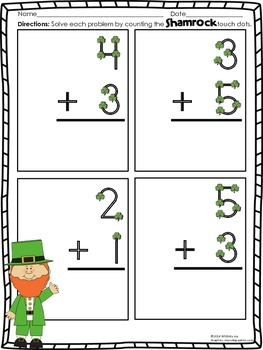 St. Patrick's Day Touch Dot Worksheets (Single Digit Addition)