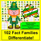 St. Patrick's Day Math Activities: 102 Fact Families Trian