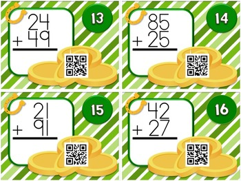 St. Patrick's Day Two-Digit Addition QR Code Task Card Fun