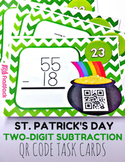 St. Patrick's Day Two-Digit Subtraction QR Code Task Card Fun