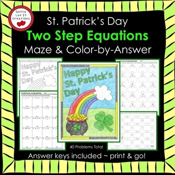 St. Patrick's Day Two Step Equations Maze & Color by Numbe