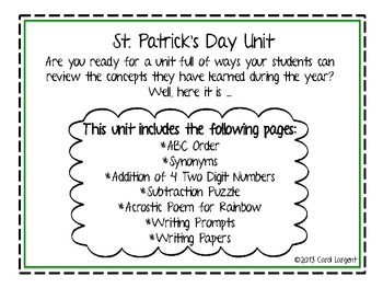St. Patrick's Day Unit for Math & Language Arts