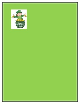 St. Patrick's Day Verb Creative Writing Story