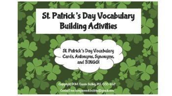St. Patrick's Day-Vocabulary Building (Vocab, Synonyms, Antonyms, BINGO)