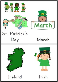 St. Patrick's Day Vocabulary Cards with Record Sheets - 18 pages