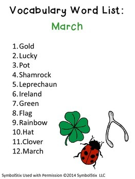St. Patrick's Day Vocabulary Unit for Special Education