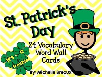 St. Patrick's Day Vocabulary Word Wall Freebie