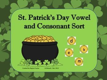 St. Patrick's Day Vowel and Consonant Sort Common Core RF K.1