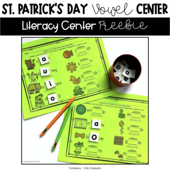 St. Patrick's Day Vowels Literacy Center {Freebie}