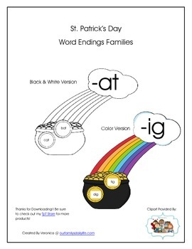 St. Patrick's Day Word Endings Families Full Version