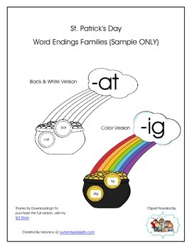 St. Patrick's Day Word Endings Families Sample Only