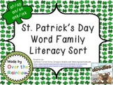St. Patrick's Day Word Family Literacy Sort with 6 Word Families
