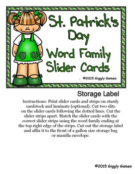 St. Patrick's Day Word Family Slider Cards
