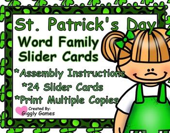 St. Patrick's Day Word Family Slider Cards
