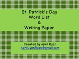 St. Patrick's Day Word List and Writing Paper
