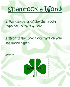 St. Patrick's Day Word Matching Literacy Center