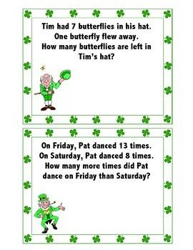St. Patrick's Day Word Problem Task Cards