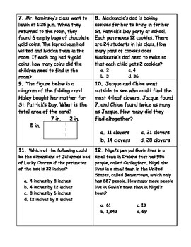 St. Patrick's Day Word Problems- 3rd Grade & 4th Grade