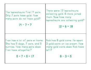 St. Patrick's Day Word Problems Bingo Sheet