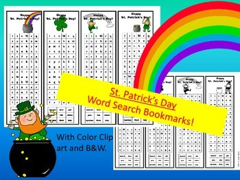 St. Patrick's Day Word Search Bookmarks for Elementary