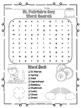 St. Patrick's Day Word Search Kinder 2 Levels