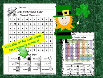 St. Patrick's Day Rebus Word Search for Elementary