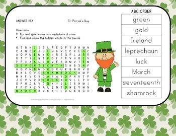 St. Patrick's Day - Vocabulary Word Search wih ABC Order