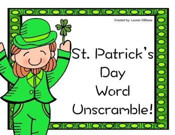 St. Patrick's Day Word Unscramble
