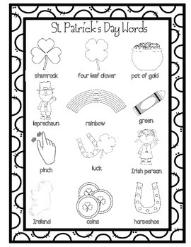 St. Patrick's Day Word Wall for Daily 5 Writing Portfolios