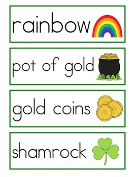 St. Patrick's Day Word Wall Vocabulary Cards