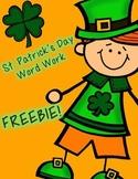 St. Patrick's Day Word Work Freebie