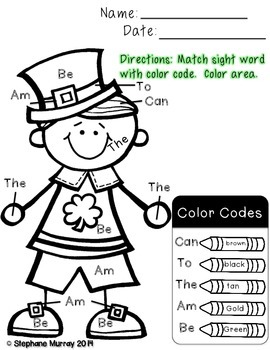 St. Patrick's Day Word Work Freebie