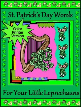 St. Patrick's Day Words Flash-card Set Activity Packet