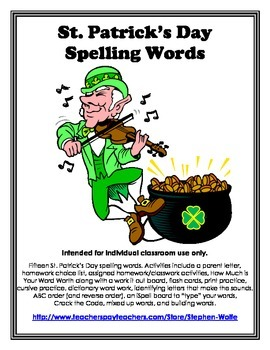 St. Patrick's Day Words and Word Work Activity Pack