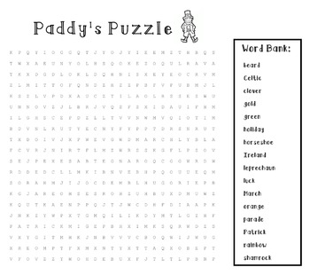 St. Patrick's Day Wordsearch For Kids
