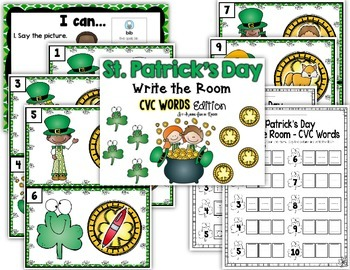 St. Patrick's Day Write the Room - CVC Words Edition
