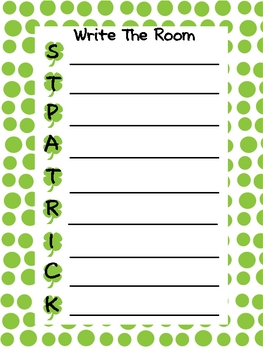 St. Patrick's Day Write the Room Fun