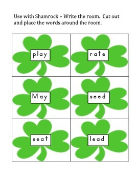 St. Patrick's Day- Write the room with Long Vowels, Money, Color a Shamrock