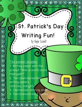 St. Patrick's Day Writing -- Writing Paper and Coloring