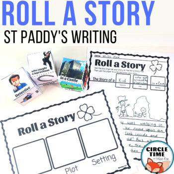 St Patricks Day Writing Centers, Roll a Story March, Roll a Story Dice Game