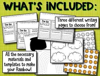 "St. Patrick's Day Writing --- ""I'm So Lucky"" Writing & Rainbow Craftivity"