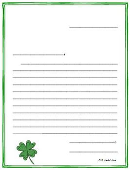 Writing Paper Templates - St. Patrick's Day