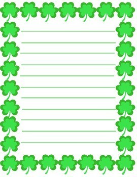 St. Patricks Day Writing Paper Stationary for Classroom
