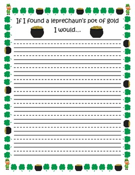 St. Patrick's Day Writing Paper with prompt and blank page