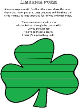 st patricks day writing prompt with text evidence and limerick poem template - 30 Limerick Examples Funny Cooperative