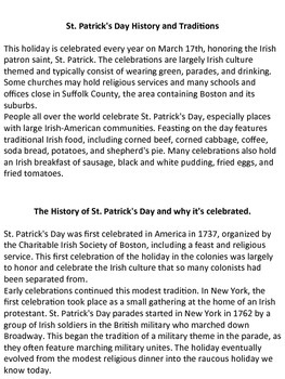 St. Patrick's Day Writing Prompt with text evidence and Limerick Poem template