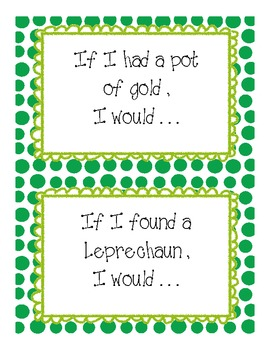 St Patrick's Day Writing Prompts and Paper Grades k-1