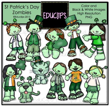 St Patrick's Day Zombies Clip Art Bundle {Educlips Clipart}